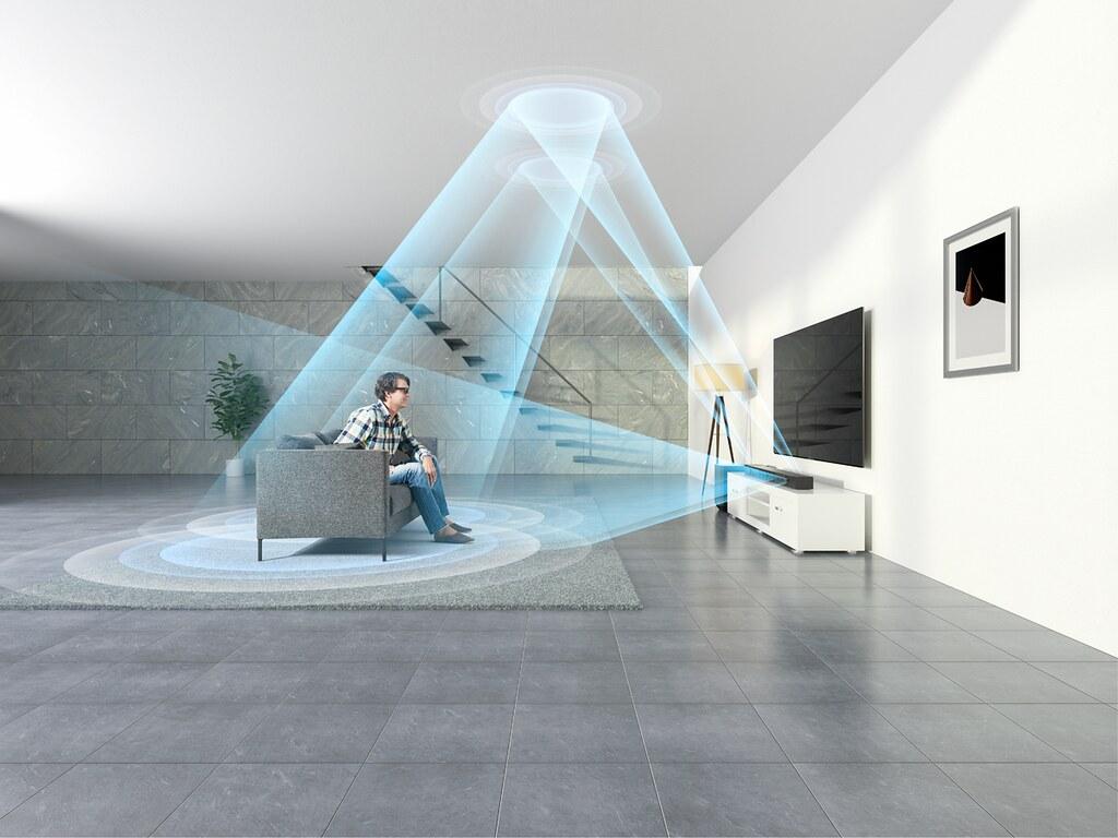 圖3) Sony HT-ST5000獨特質感的纖薄機身中內建天空聲道喇叭,凡使用振興券購買即可現抵NT$5,000,居家視聽設備輕鬆升級。