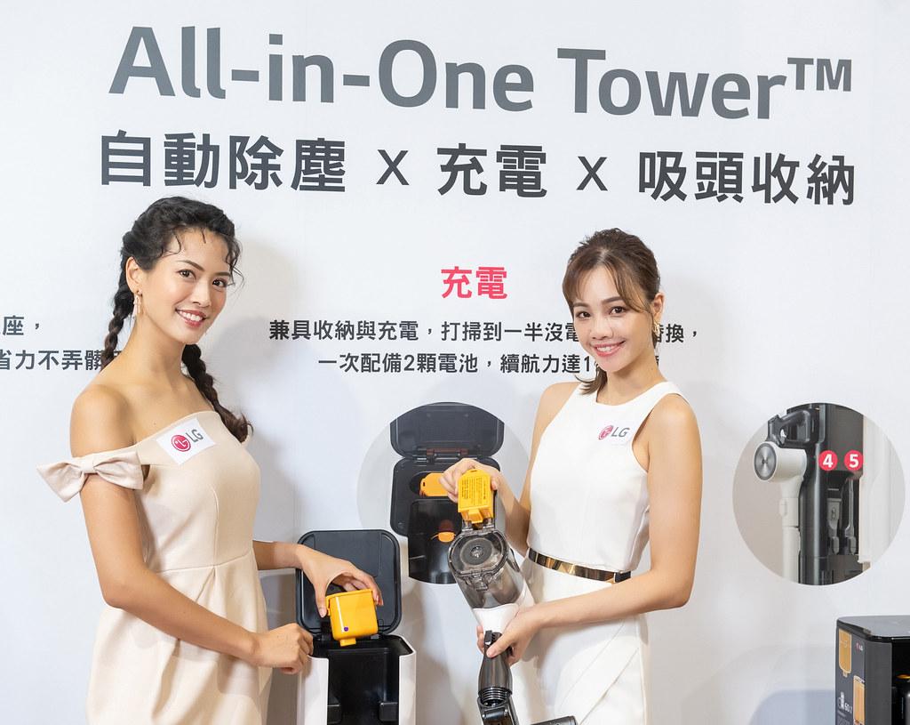 LG A9 T系列All-in-One濕拖無線吸塵器,配有充電座及可替換顆電池,長效續航雙電池提高清潔效率,續航力長達120分鐘。