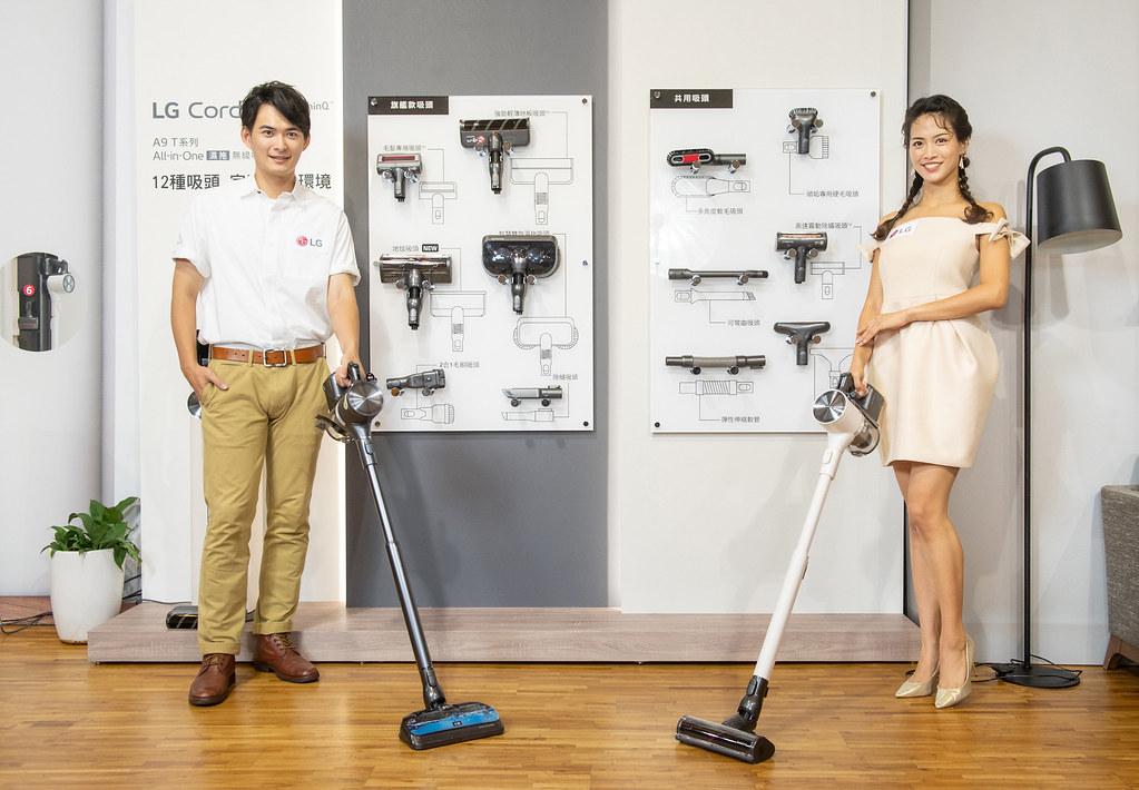 因應各式環境需求,提供不受限的清潔體驗,LG A9 T系列All-in-One濕拖無線吸塵器備有6款旗艦級吸頭,靈活運用於各種居家空間,清潔不再處處受限。