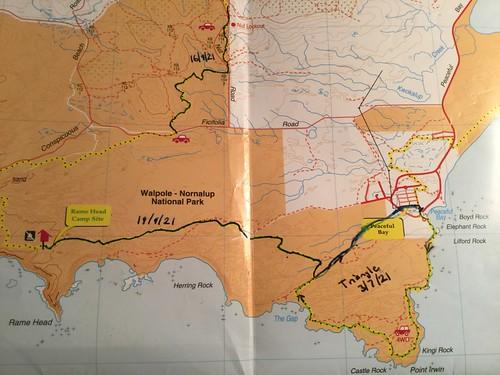 Track Map - Peaceful Bay to Rame Head Hut Walk, Bibbulmun Track, South Coast, Western Australia