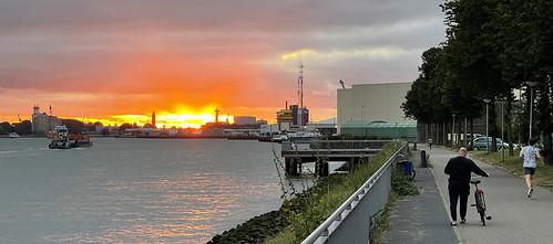 Sunset over Port of Rotterdam