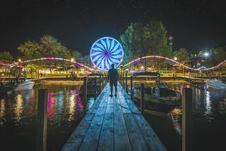 okaboji iowa, arnolds park, amusement park, lake, night