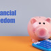 Piggybank with calculator and Financial Freedom text