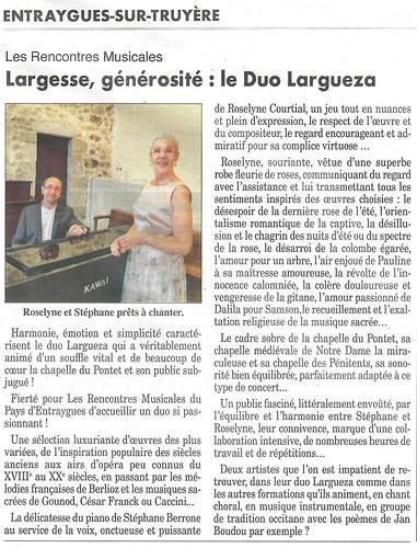 Entraygues. Duo Largueza - Roseline Courtial et Stéphane Berrone