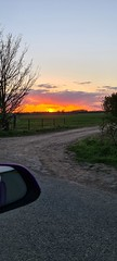 Orange Sunset over archicultural fields