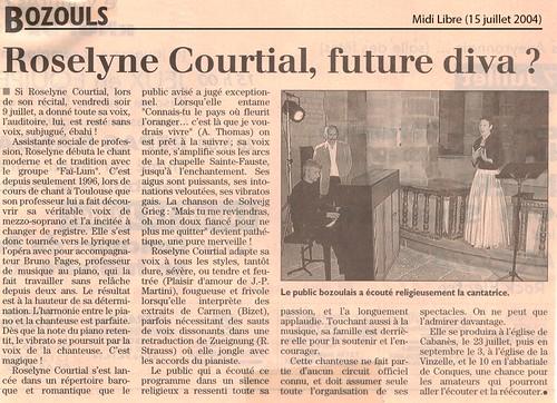 Bozouls. Roselyne Courtial, future diva ?