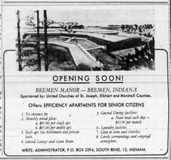 1965 - Bremen Manor opens - South Bend Tribune - 5 Mar 1965