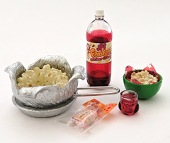 Cooking with Mama # 10 (MurderWithMirrors) Tags: rement miniature food cookingwithmom popcorn mwm soda bottle glass bowl grapejuice