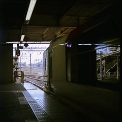 In the Mirror (Yoshikatsu Sato) Tags: reflection 6x6 window station train mediumformat mirror kamakura platform railway signal naritaexpress nex