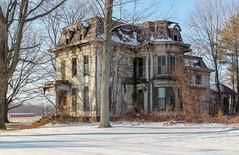 Schaeffer House — Milan Township, Erie County, Ohio (Pythaglio) Tags: county ohio house milan abandoned historic empire shutters second erie slate siding brackets mule cornice schaeffer asbestos mansard