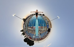 Gina Walks the Plank (BongoInc) Tags: summer panorama newmexico pool swim student dive fisheye planet recreation lascruces aggies nmsu newmexicostateuniversity 105mmfisheye stereographicprojection nikond90