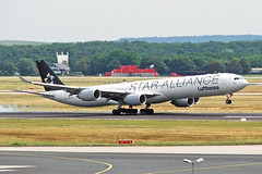 D-AIHC 1 Airbus A340-642 Lufthansa (Star Alliance) FRA 29JUL05 (Ken Fielding) Tags: daihc airbus a340642 lufthansa staralliance aircraft airplane airliner jet jetliner widebody aviation