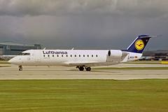 D-ACLV Canadair CRJ.100ER Lufthansa MAN 01MAY02 (Ken Fielding) Tags: daclv canadair crj100er lufthansa aircraft airplane airliner jet jetliner regionaljet commuter aviation