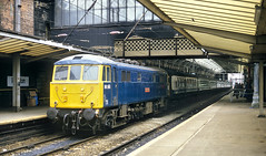 Northbound Blue Can At Preston. (Neil Harvey 156) Tags: railway 86241 glenfiddich preston prestonstation westcoastmainline wcml locohauledpassengertrain class86 brblue railblue electricloco can